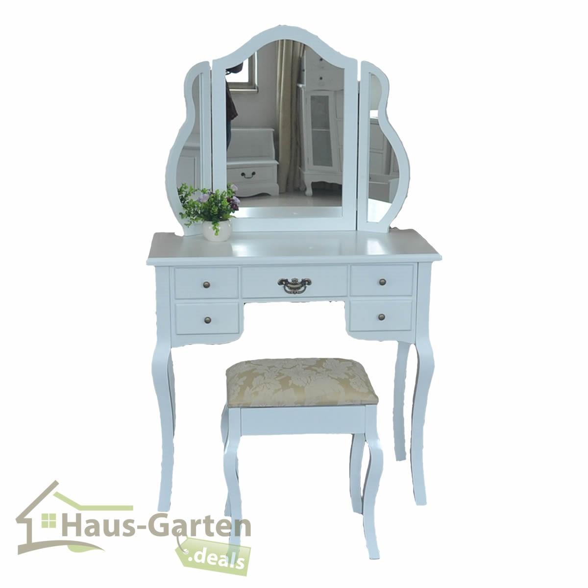 schminktisch spiegel hocker frisierkommode frisiertisch wei landhaus 2 modelle ebay. Black Bedroom Furniture Sets. Home Design Ideas