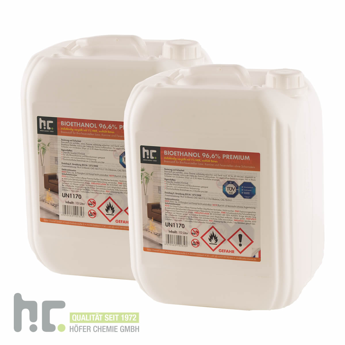 3 x 10 l bioethanol alkohol 96 6 bio ethanol kamin 30. Black Bedroom Furniture Sets. Home Design Ideas